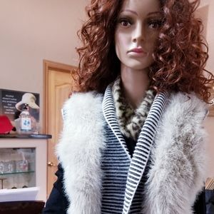 Faux Fur Vest with Black and White Ribbed Detail